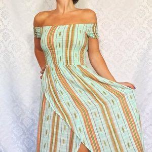 NWT Boho Stripe Mint Green Off Shoulder Maxi Dress